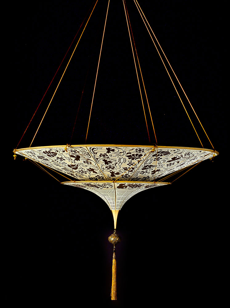 Fortuny Scheherazade 2 tiers brown Floral silk lamp side