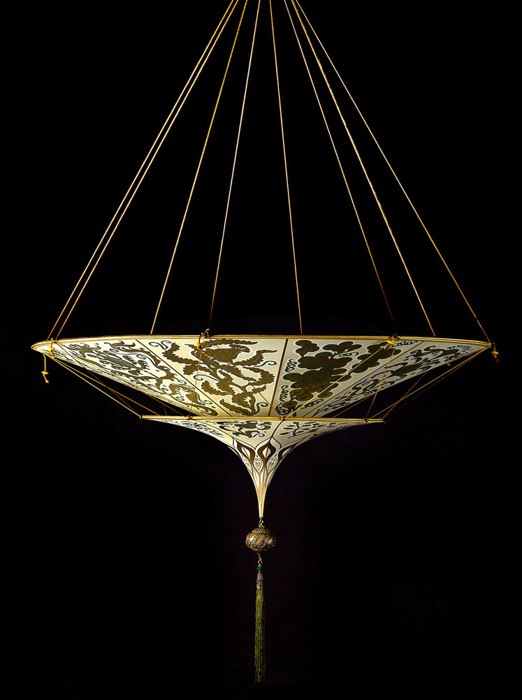 Fortuny Scheherazade 2 tiers Herbarium silk lamp side