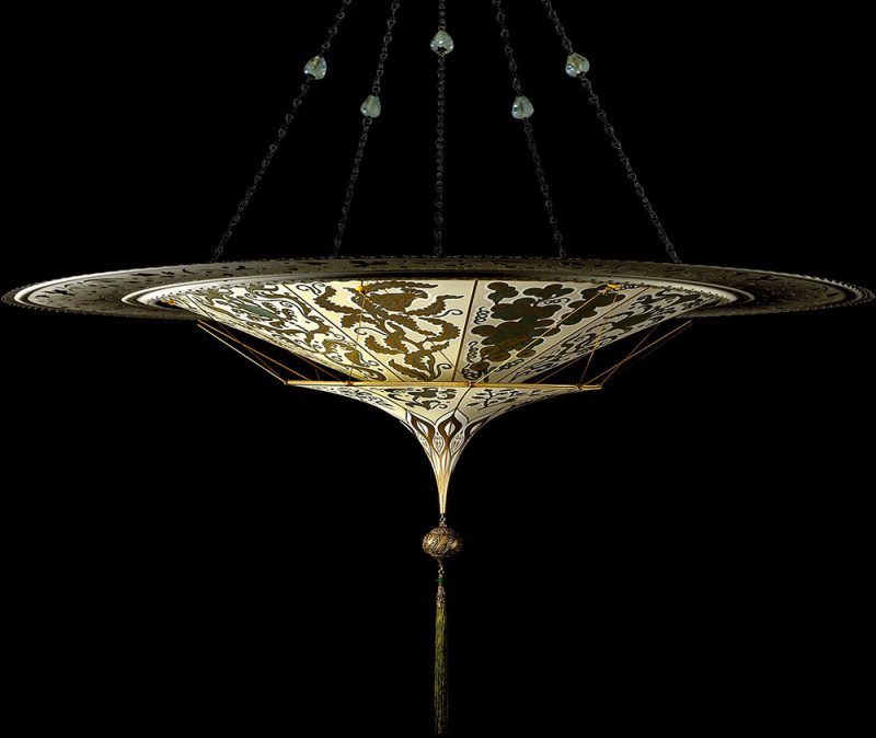 Fortuny Scheherazade 2 tiers Herbarium silk lamp with metal ring