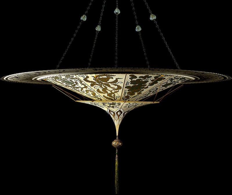 Fortuny Scheherazade 2 tiers Herbarium silk lamp with metal ring