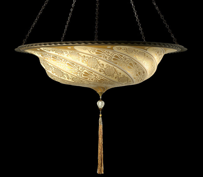 Fortuny Scudo Saraceno gold classic glass lamp