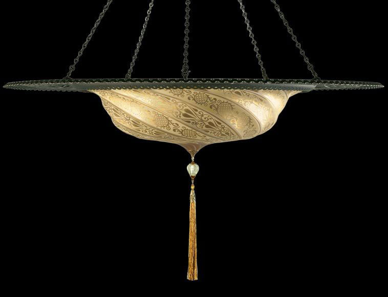 Fortuny Scudo Saraceno gold classic glass lamp with metal ring