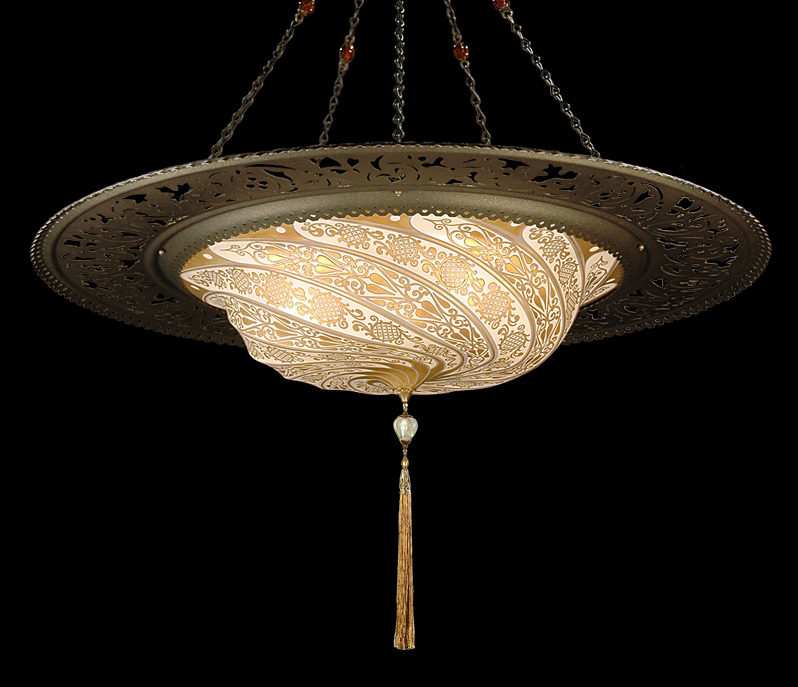 Fortuny Scudo Saraceno glass gold lamp with metal ring bottom view