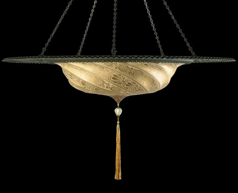 Fortuny Scudo Saraceno gold glass lamp with metal ring