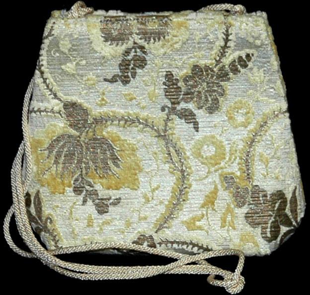 Fortuny Giudecca yellow hand printed velvet bag