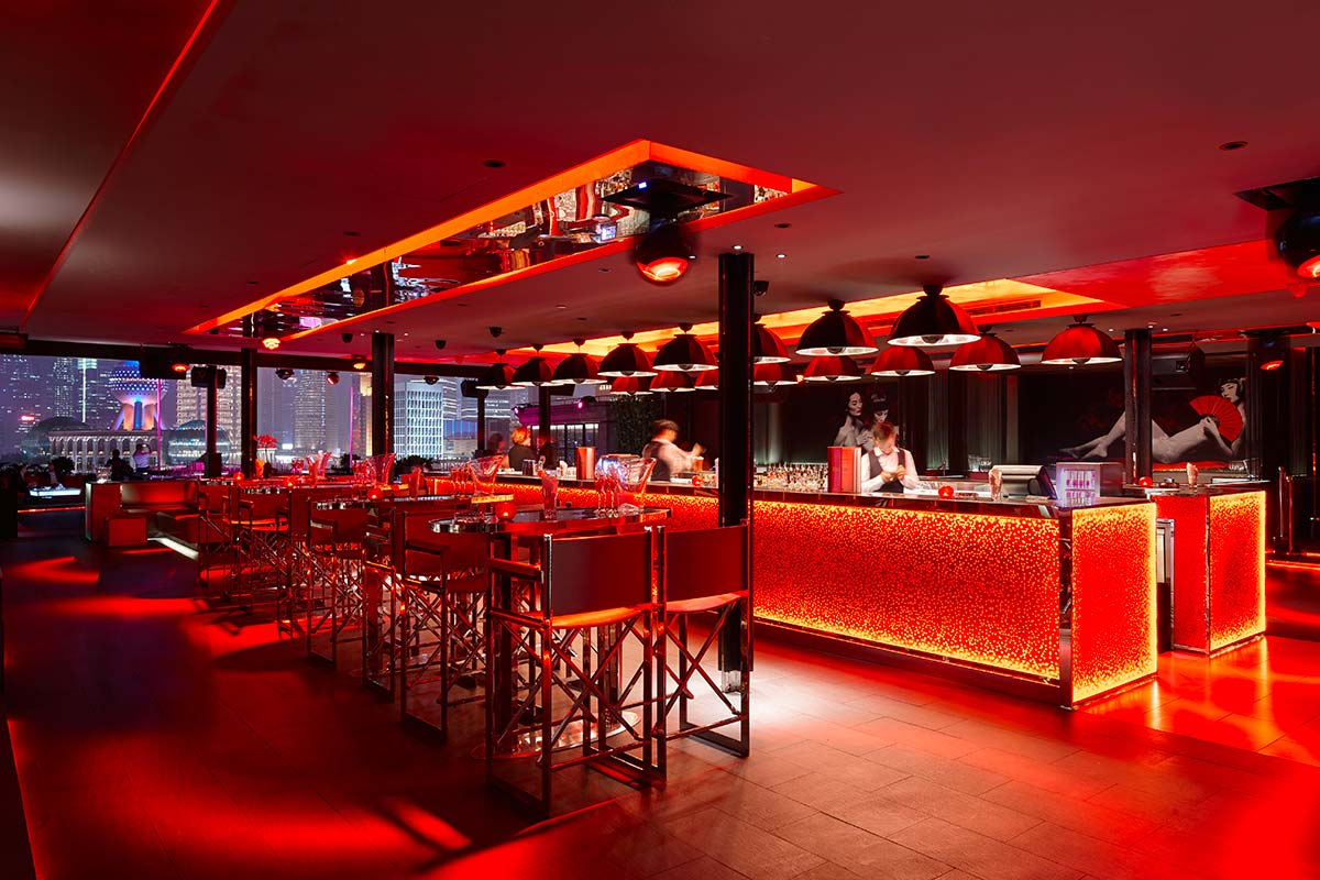 Bar Rouge in Shangai features Fortuny Studio 1907 Cupola lamps 3