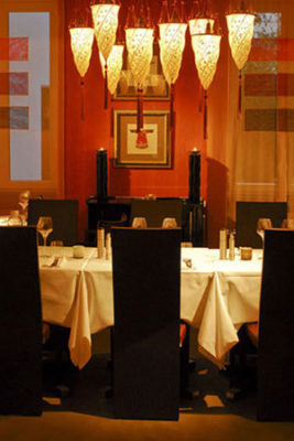 Eastwest Restaurant Switzerland with Cesendello lamps