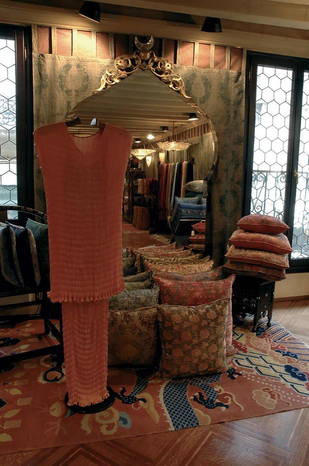 Fortuny Delphos dress in Fortuny Shop Atelier in Venice