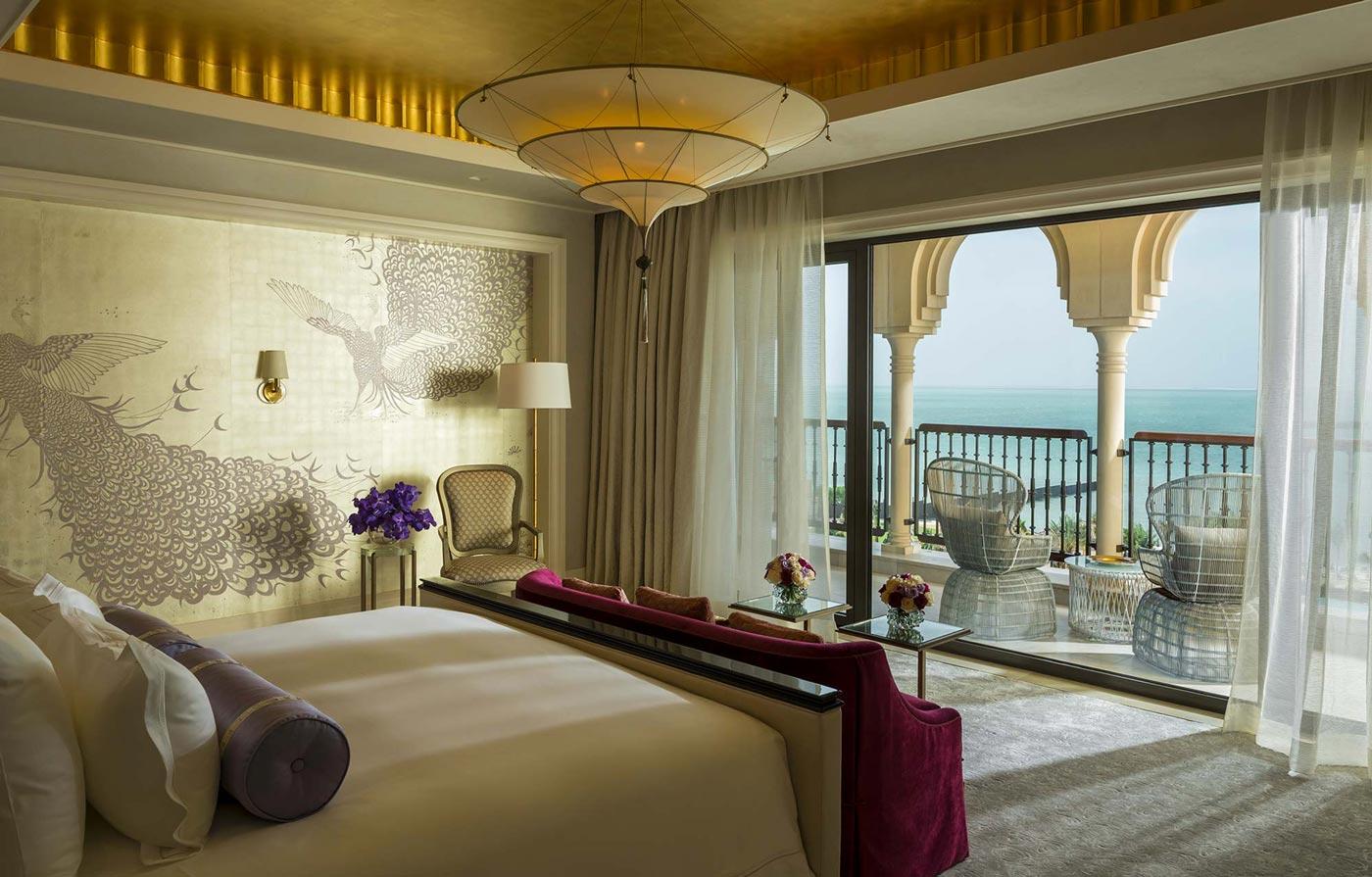 3 tiers plain silk lamp Scheherazade in Four Seasons Resort Hotel in Dubai, Royal Suite Master bedroom