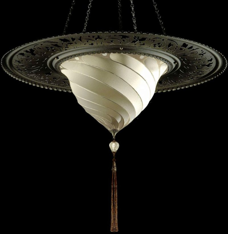 Fortuny Samarkanda Plain silk lamp with metal ring