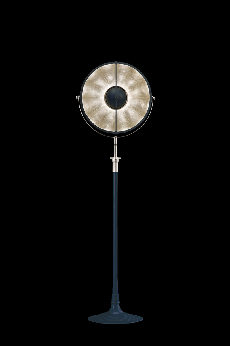 Fortuny Atelier 41 floor lamp pastel blue and silver leaf