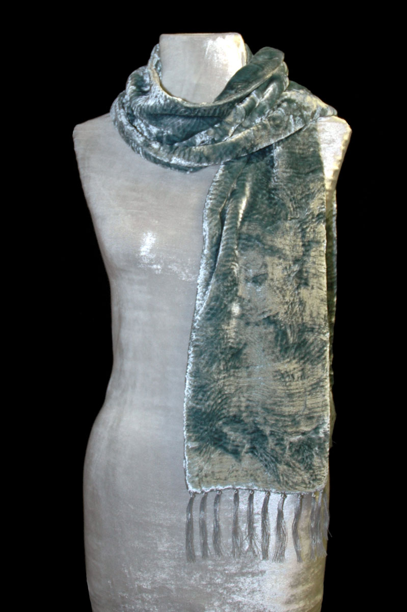Fortuny light blue furrowed velvet scarf with fringes