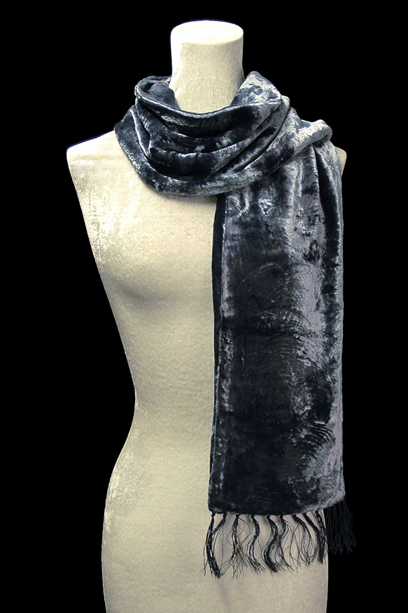 Fortuny blue grey furrowed velvet scarf with fringes