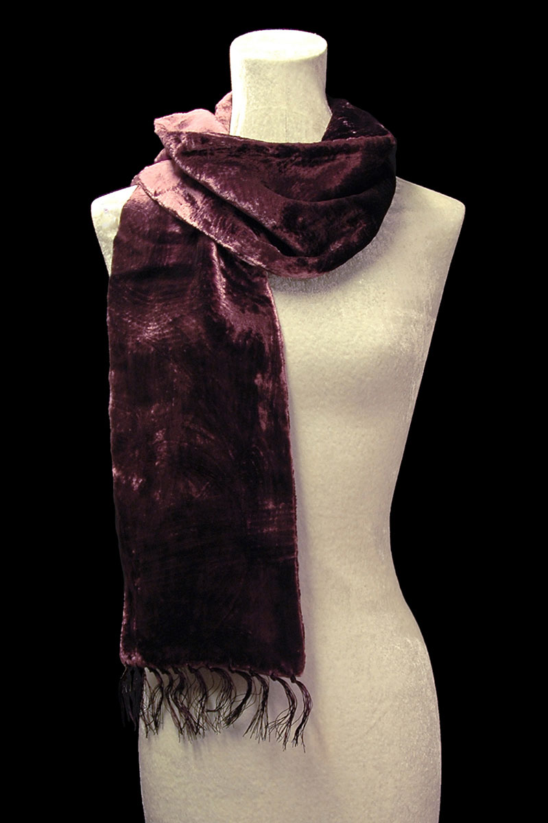 Fortuny dark plum furrowed velvet scarf with fringes
