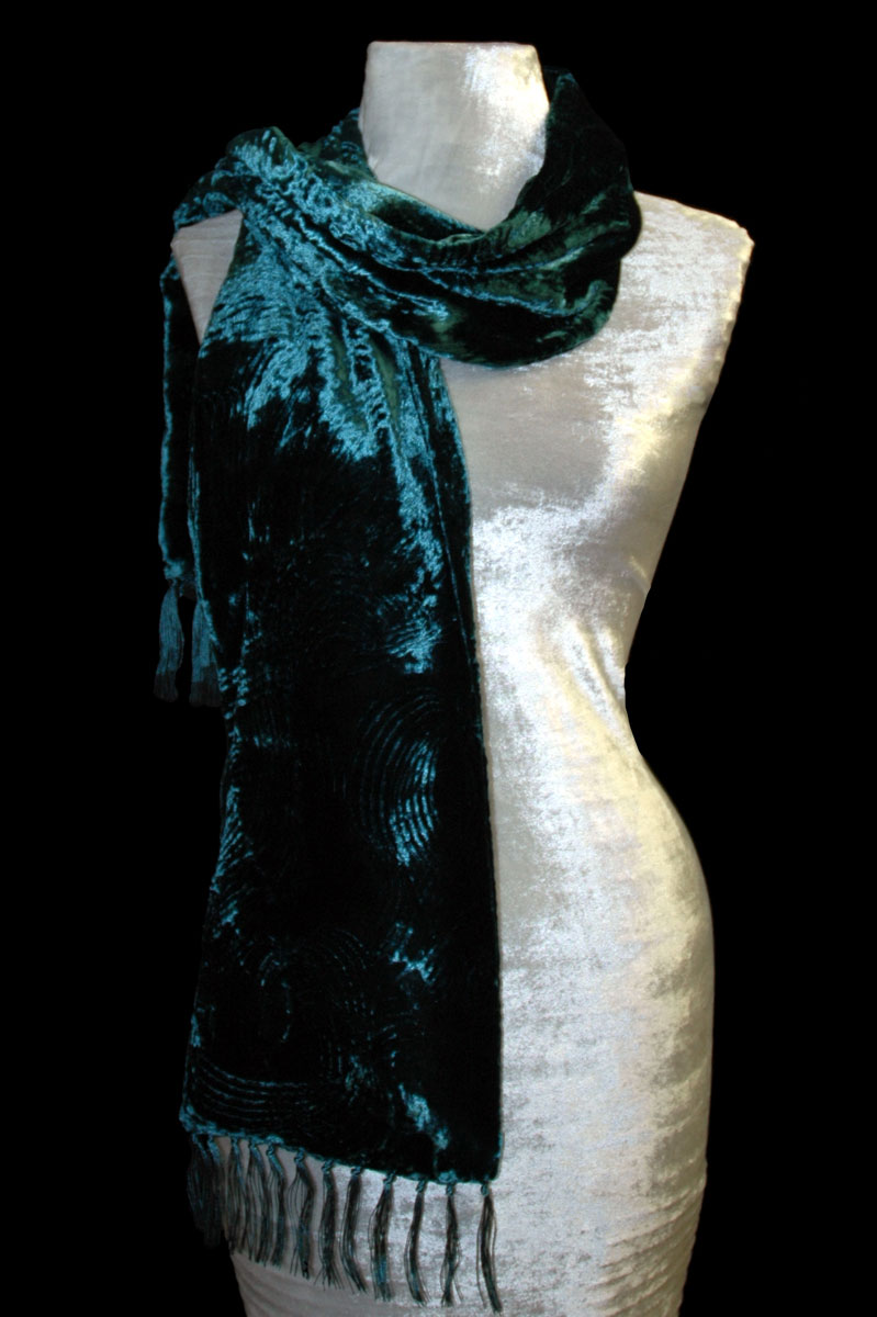 Fortuny dark teal blue furrowed velvet scarf with fringes