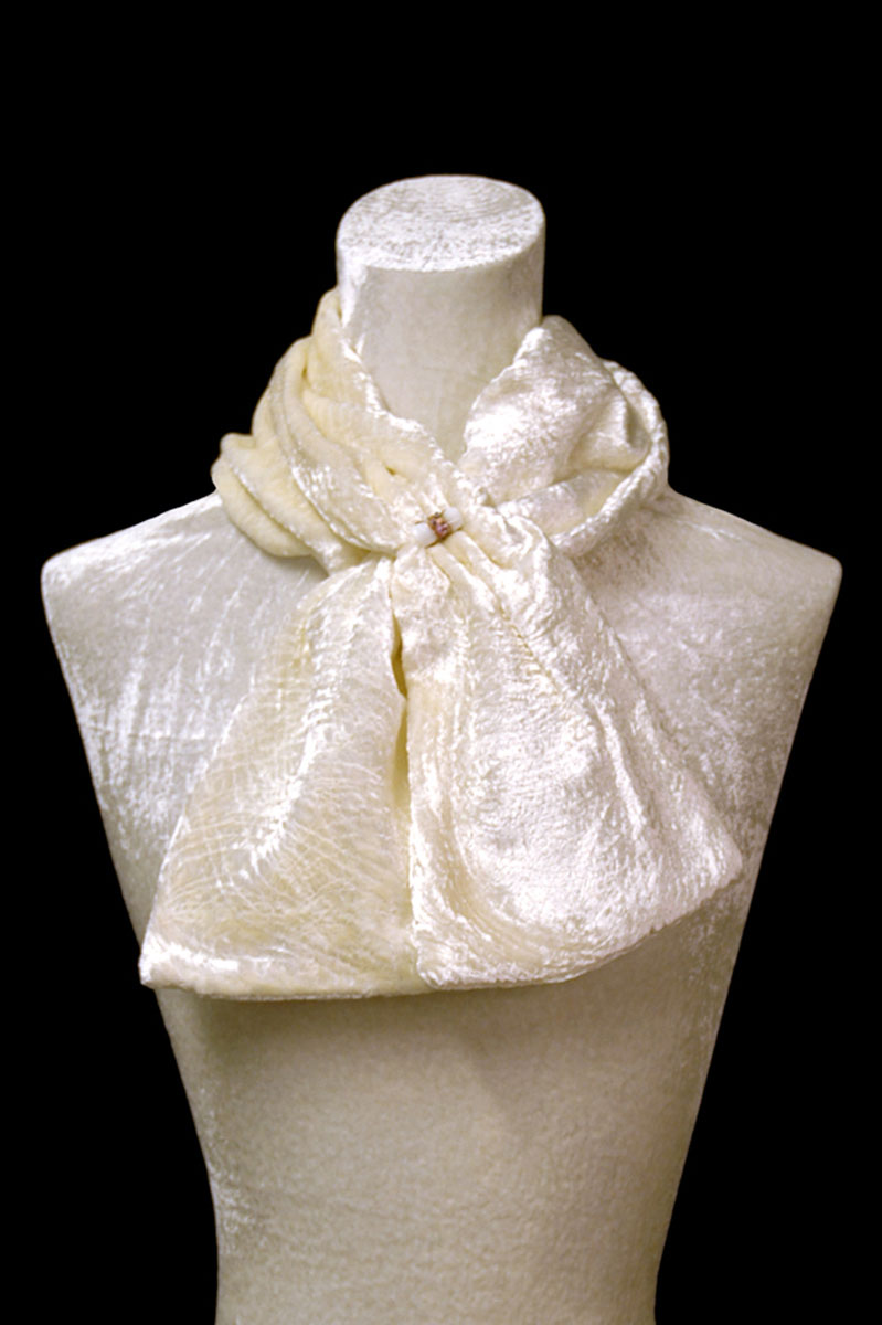 Fortuny white furrowed velvet scarf with Murano glass bead