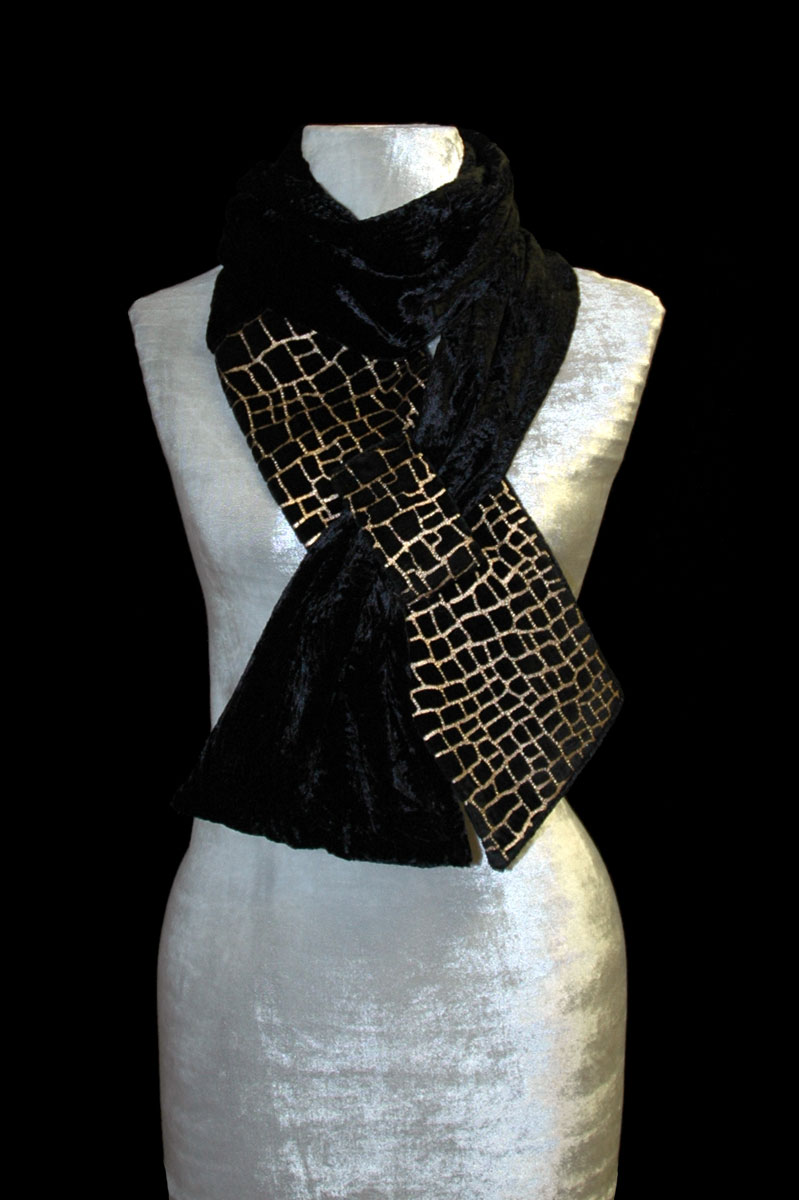 Fortuny black printed velvet scarf
