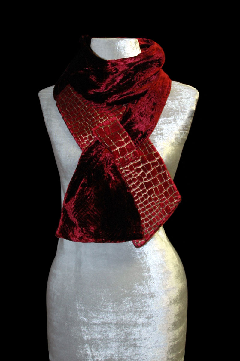 Fortuny red printed velvet scarf