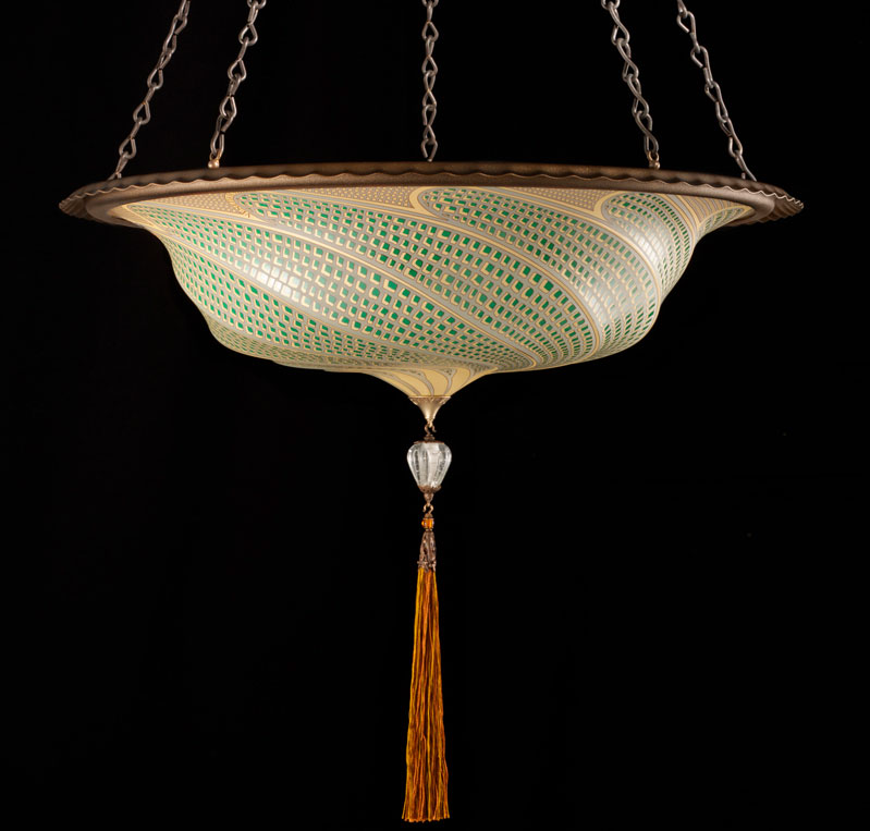 Fortuny Scudo Saraceno glass green mosaic lamp