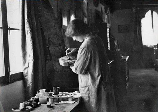 Henriette Nigrin in her workshop inside Palazzo Pesaro degli Orfei