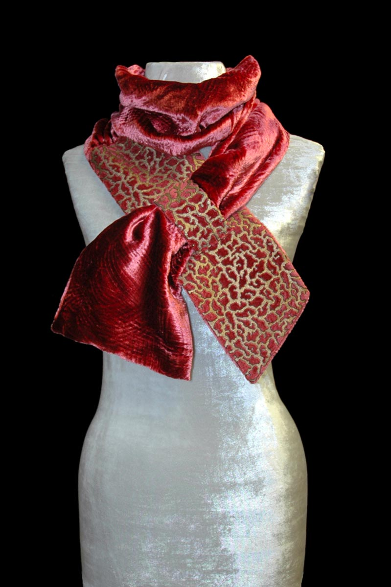 Fortuny cinnamon printed velvet scarf