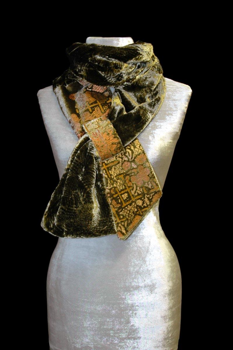 Fortuny olive green printed velvet scarf