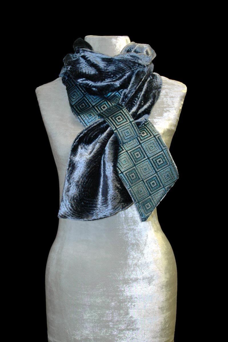 Fortuny blue grey printed velvet scarf