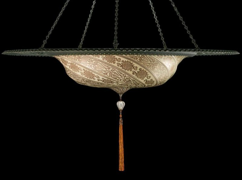 Fortuny Scudo Saraceno silver glass lamp with metal ring