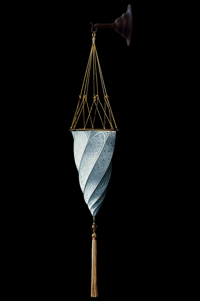 Fortuny Cesendello Classic light blue silk wall lamp