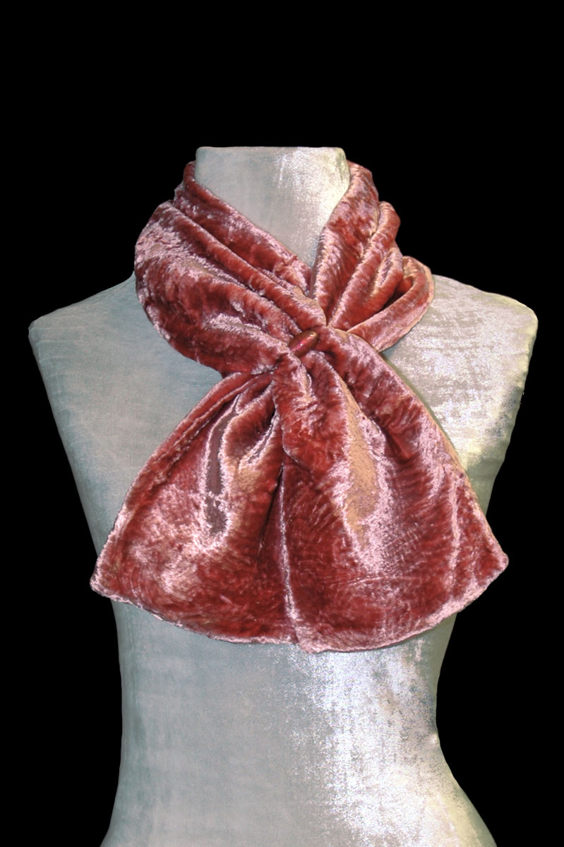 Fortuny cinnamon furrowed velvet scarf with Murano glass beads