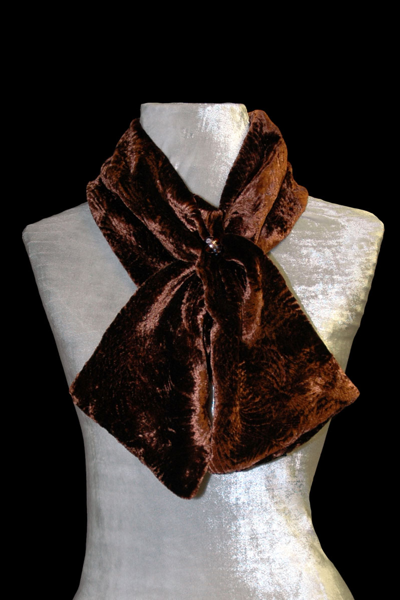 Fortuny cocoa furrowed velvet scarf with Murano glass beads