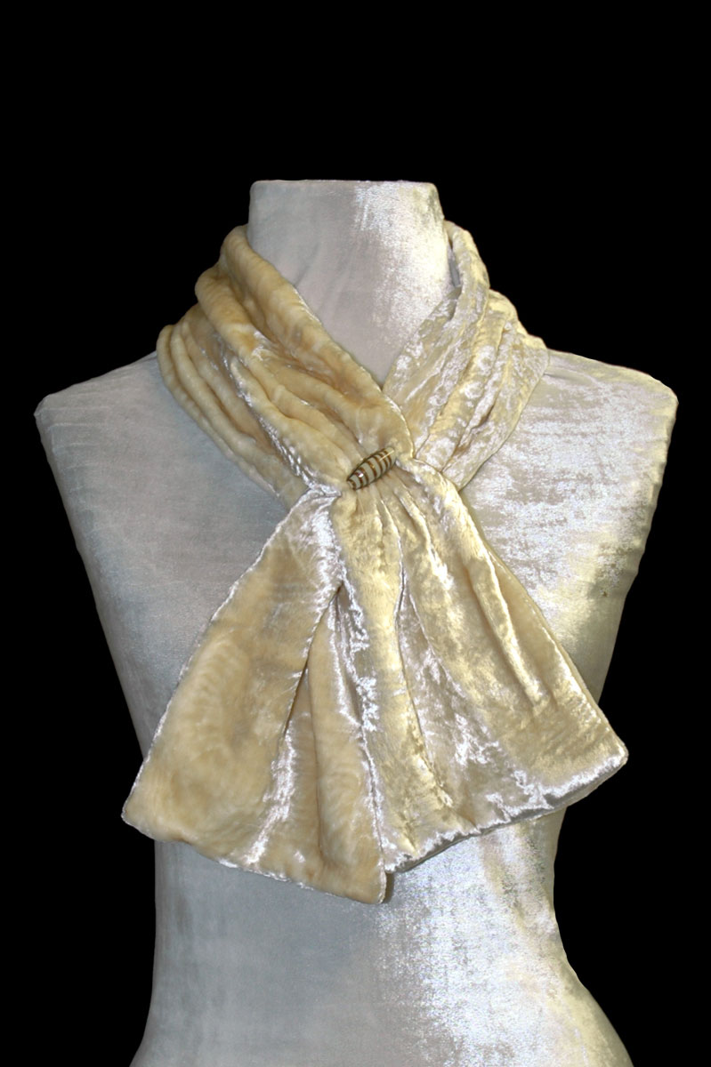 Fortuny ivory furrowed velvet scarf with Murano glass beads