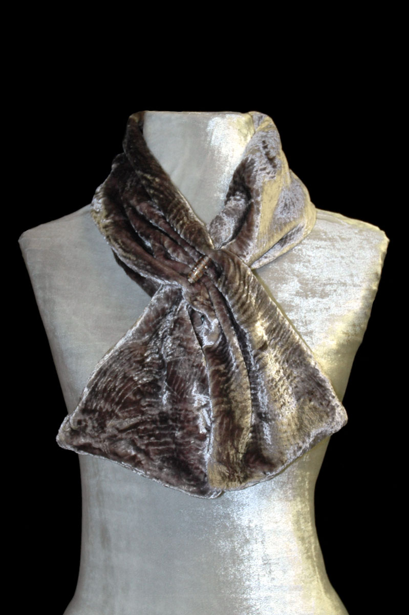Fortuny olive sand furrowed velvet scarf with Murano glass bead