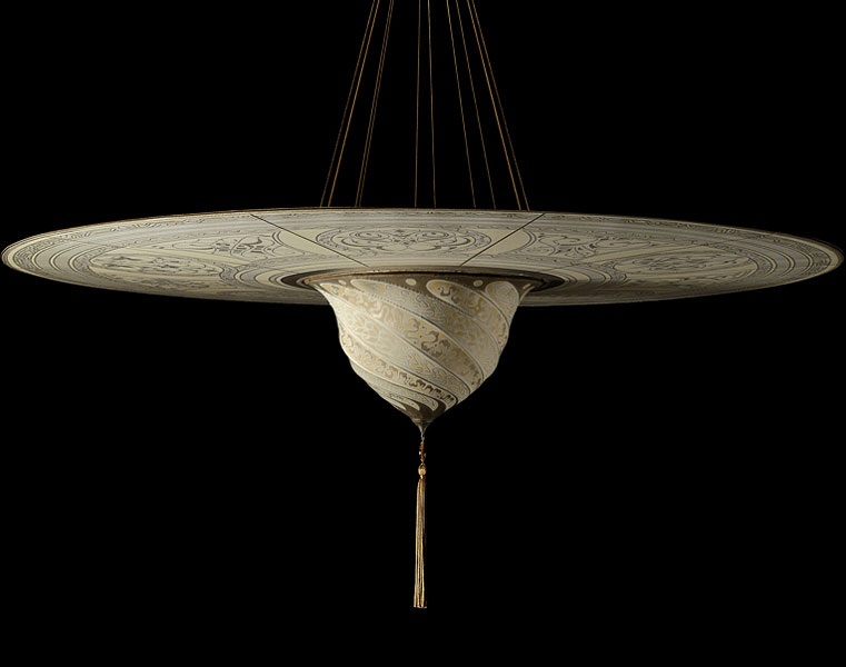 Fortuny Samarkanda Serpentine silk lamp with disc