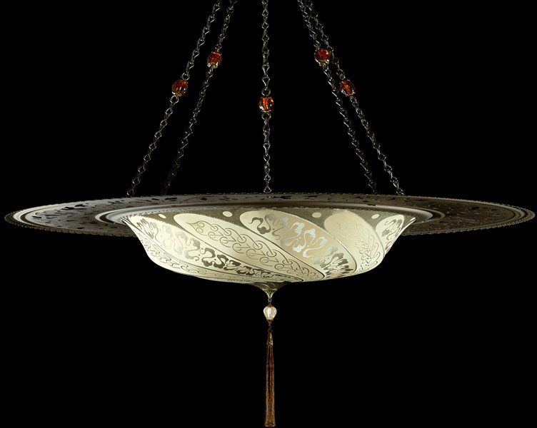 Fortuny Scudo Saraceno Serpentine ivory silk lamp with metal ring