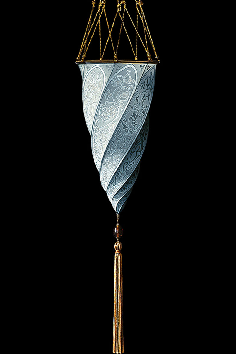 Fortuny Cesendello light blue silk lamp