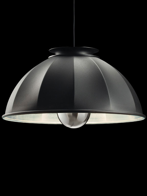 Fortuny Cupola 76 black and silver leaf suspended lamp