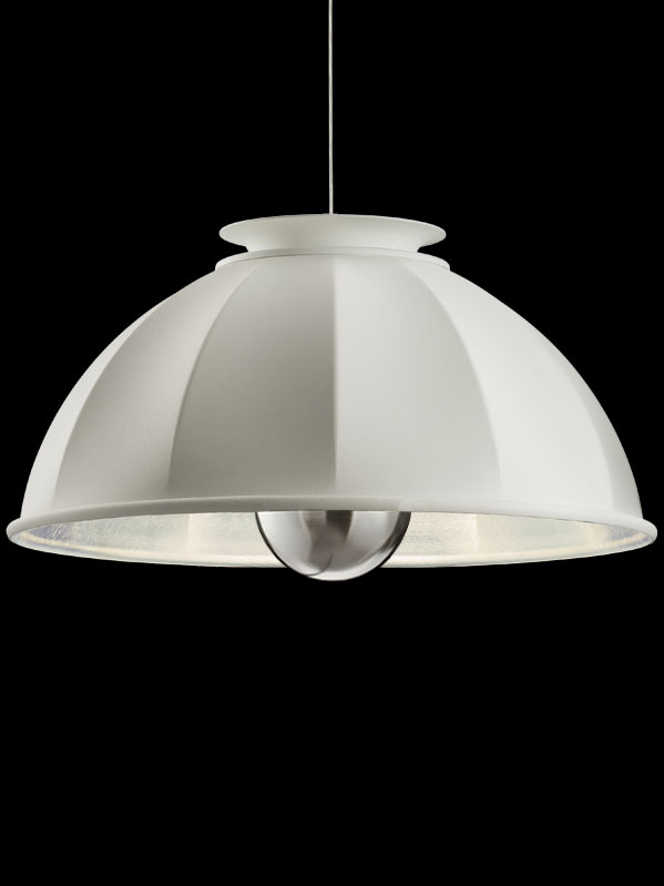 Fortuny Cupola 76 white and silver suspended lamp