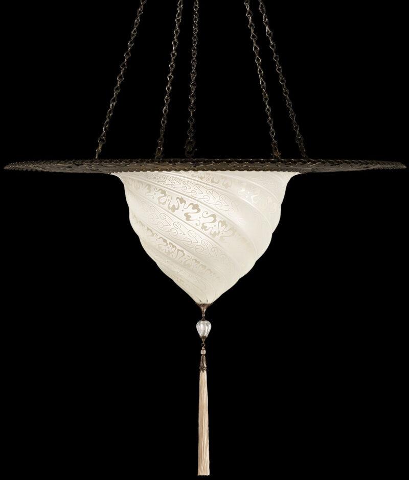 Fortuny Samarkanda white glass lamp with metal ring