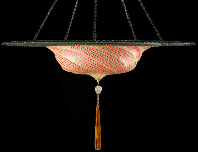 Fortuny Scudo Saraceno red mosaic glass lamp with metal ring