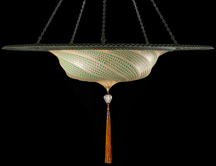Fortuny Scudo Saraceno green mosaic glass lamp with metal ring