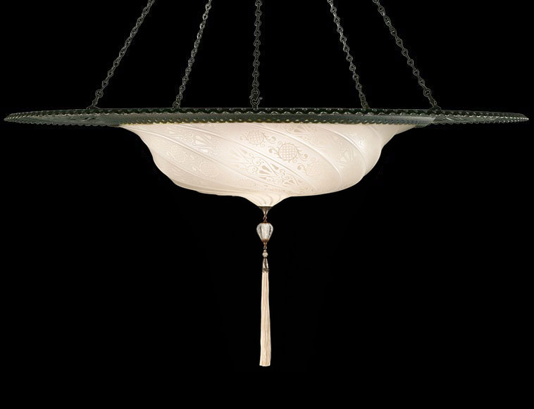 Fortuny Scudo Saraceno white classic glass lamp with metal ring