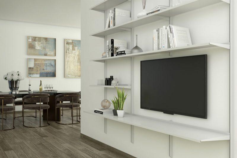Pallucco Continua silver living room modular wall bookcase