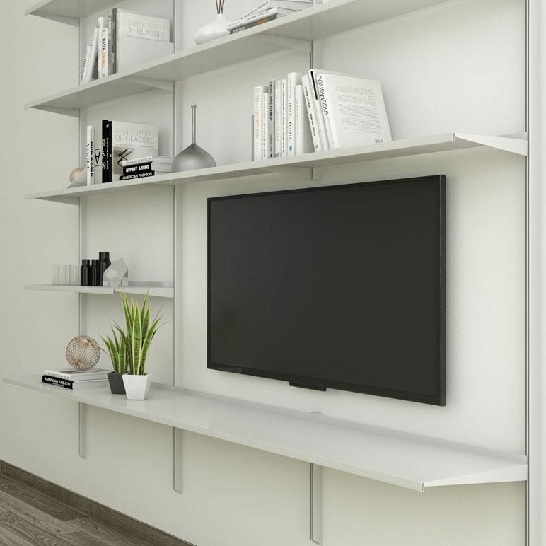 Pallucco Continua silver living room modular wall bookcase squared