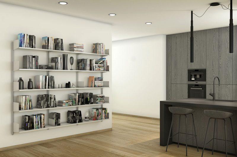 Pallucco Continua silver kitchen modular wall bookcase