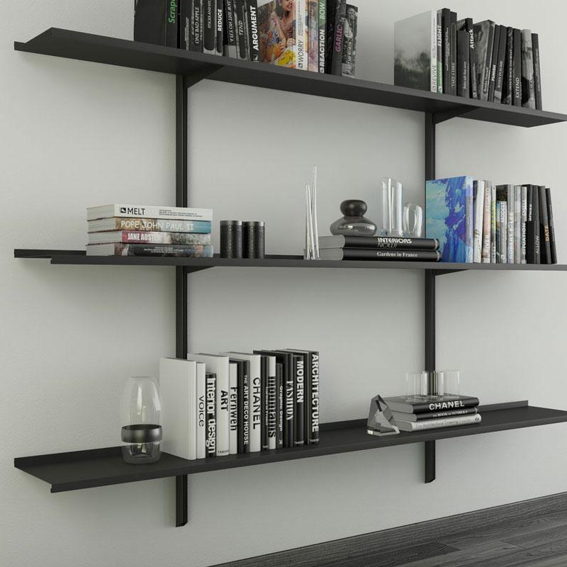 Pallucco Continua black modular wall bookcase squared