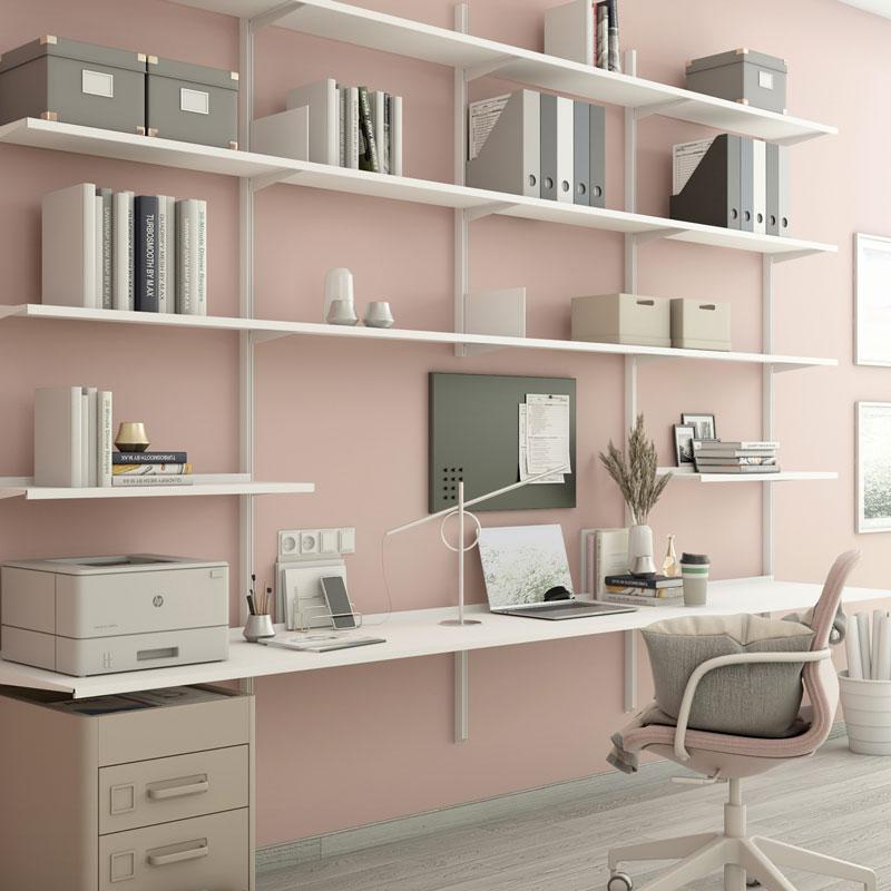 Pallucco Continua white home office modular bookcase with desk squared