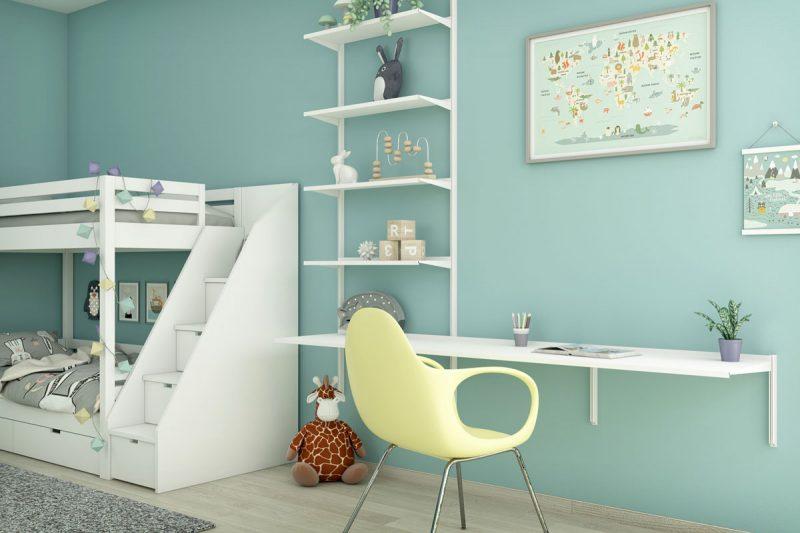 Pallucco Continua white kids bedroom modular bookcase with desk