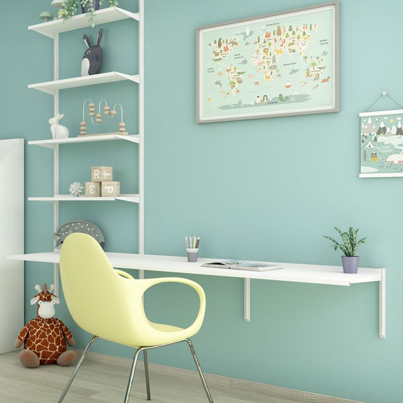 Pallucco Continua white kids bedroom modular bookcase with desk squared