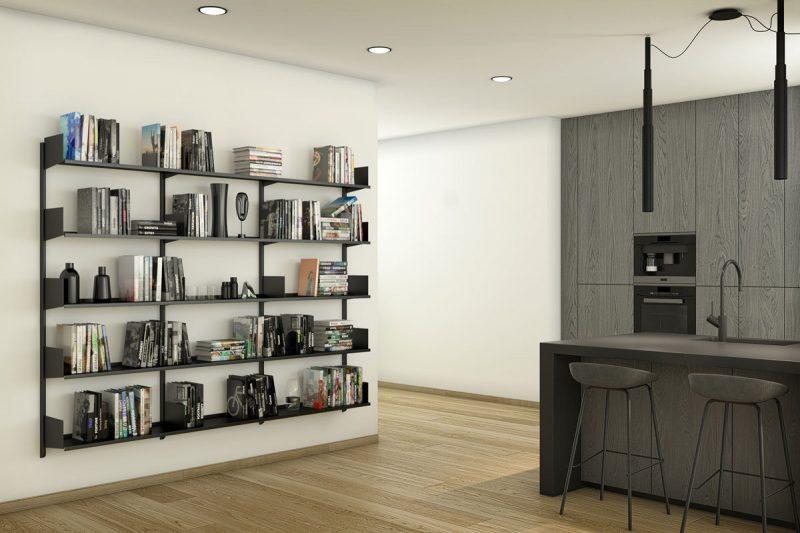 Pallucco Continua black kitchen modular wall bookcase